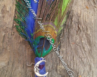 Hand created Moon feather smudge wand Ooak