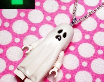 Glow in the dark Ghost Necklace... Handmade using LEGO® parts