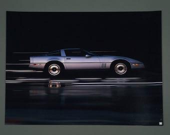 Vintage 1980s Chevrolet Corvette Poster Silver Color Black Background Art Print Medium Size 20 x 16 Advertising Man Cave Wall Decor