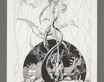 1978 Alex Nino The Dark Suns Of Gruaga Portfolio Plate #8 THE SPIRIT 11 x 16 Black & White Art 752/1000 Limited Edition