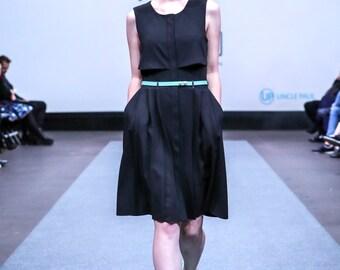 Pleated, little black dress, pleated back detail