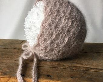 Baby Photo Prop, Baby Bonnet, Crochet Bonnet, Angora Bonnet, Angora Hat
