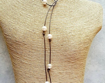 Pearl  leather necklace - leather Pearl necklace - Bohemian long leather necklace - Leather lariat necklace - leather anniversary gift
