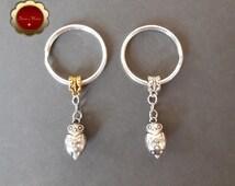 Rhinestone Owl Keychain, Rhinestone Owl Pendant, Bling Owl Charm, Silver Key Ring, Gold & Silver Keychain, Owl Spirit Animal, Gift
