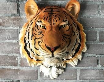 ANY COLOR Faux Taxidermy Tiger Head Wall Mount // Safari Nursery // 3D Animal Bust // Cincinnati Bengals // Jungle Cat // Wall Sculpture //
