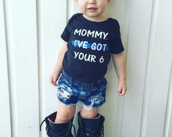 Daddy, I've Got Your 6 Baby Newborn Bodysuit Toddler Shirt Police Officer Baby Back The Blue Sheepdog Thin Blue Line