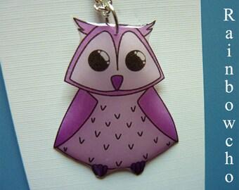 Purple OWL in resin pendant