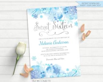 sweet 16 invitation, sweet sixteen invitations, winter sweet sixteen invitations, winter sweet 16th birthday invite, snowflake, watercolor