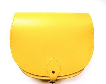 Bright Yellow Leather Saddle Bag - Handmade in UK