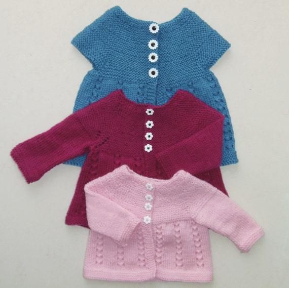 Knitting Pattern Cardigan 8 Ply : PDF Boronia Pattern; One piece knitting pattern for a A Line lacy, short/ lon...