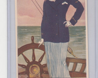 Stylish Woman Sailor A/S Tito Corbella Antq Postcard On Deck Steering Yacht,Unused