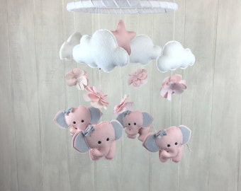Baby mobile -elephant mobile - flower mobile - moon mobile - baby crib mobile - blush mobile - elephant nursery decor