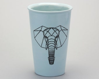 16oz Hand Painted Travel Mug with Faceted Elephant