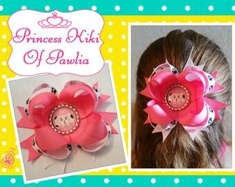 Princess Kiki bow/ pink/ white with paws