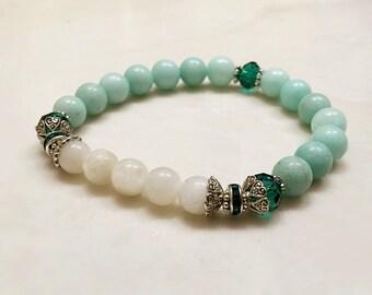 Jade Bracelet. Moonstone Bracelet. Mala Yoga Bracelet. Gemstone Bracelet. Protection Bracelet. Healing Bracelet. Mala Prayer Beads #M82