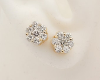 1.00 Carat T.W. Ladies Round Cut Diamond Earrings 14K