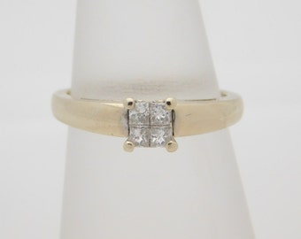 0.25 Carat T.W. Ladies Princess Cut Diamond Cluster Ring 14K White Gold