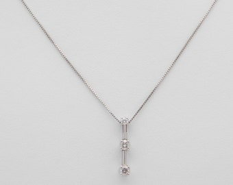 0.25 Carat T.W. Round Cut Diamond Necklace 18 Inches 14K White Gold