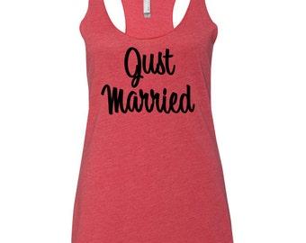 Just Married Tank Top, Bridal Flowy Racerback Tank, Wifey Shirt, Mrs. tank, Bachelorette Party Tanks, Bridal party tanks, Bride to Be Tank
