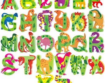 Dinosaur Wooden Alphabet Letters for Children Names on Doors or Walls or Toy Boxes, Personalised Gifts, Name Signs