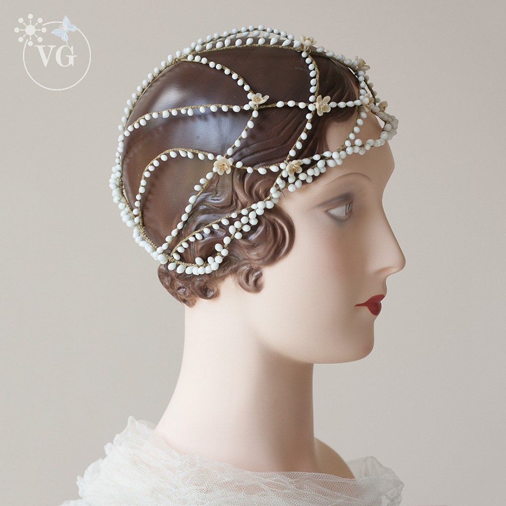 Vintage Wedding Headpieces: RARE 1920s Vintage Cloche Wedding Headpiece Wax Buds 20s