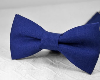 Royal blue bow tie, Blue bow tie,  linen bow tie, wedding bow tie, mens bow tie, bow tie for men, groomsmen bow tie