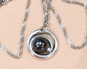 Swarovski Pearl Pendant Necklace, Sterling Silver Pendant Necklace, Black Pearl Pendant Necklace, 18 Inch Necklace, 10mm Pearl