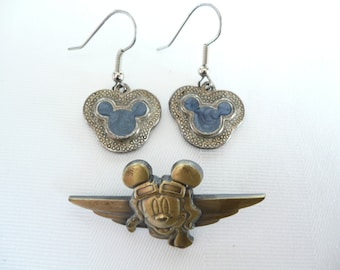 Vintage Mickey Mouse Earrings and Lapel Pin