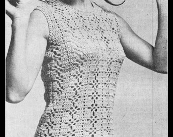 Crochet Top Pattern, PDF, Crochet Pattern, Sleeveless Top, Singlet Top, Summer, 34 and 36 inch Bust, Digital Download