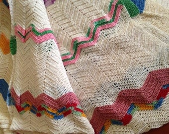 Crochet Afghan Chevron Throw Blanket