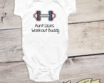 Aunt uncle stylish littles workout buddy personalized workout onesie gift aunt uncle dad weightlifting baby shirt negle