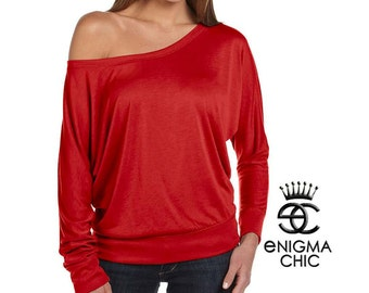 4th of July Sale Off the Shoulder Dolman Long Sleeve Lady in Red by Enigma Chic