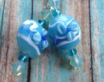 Blue Lampwork Flower Earrings, Flower Earrings, Lampwork Earrings, Blue Earrings, For Her, Gift Ideas