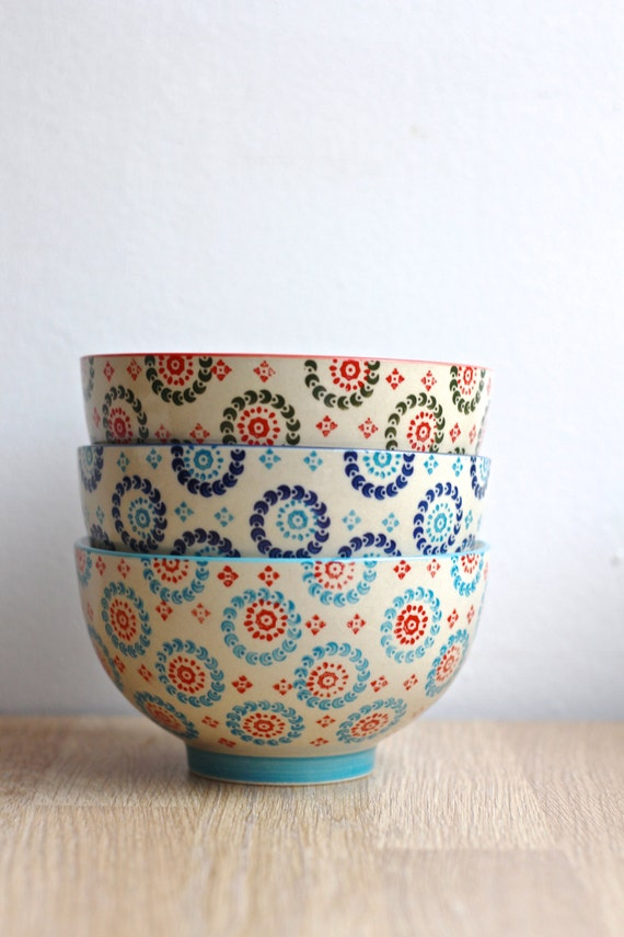 Set Of 3 Bohemian Bowls By Twomoonsandhannais On Etsy