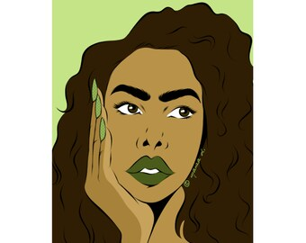 Fleur olive green spring nature pop art girl poster print