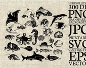 Fishes, Ocean Creatures Silhouette, Printable Clipart for Scrapbooking and Cardmaking with SVG cut file and Editable EPS