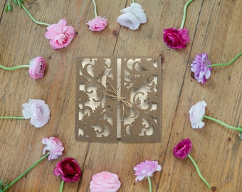 Sets of 10 Leafy Vine Intricate Rustic 5x5 Gatefold Invitations
