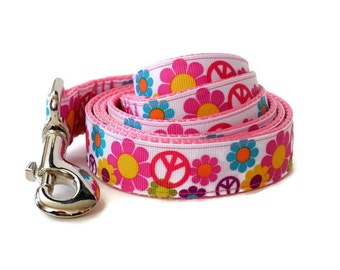 Pink Flowers & Peace Signs Girl Dog Leash