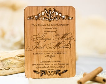 Engraved Laser Cut Invitation, Wedding Invitation Suite Set Of 10 Custom  Rustic Wedding Invitation,