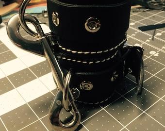 BDSM Cuffs Leather/Lambskin - Black w/ White Stiching - Hand Made - Ready to Ship!