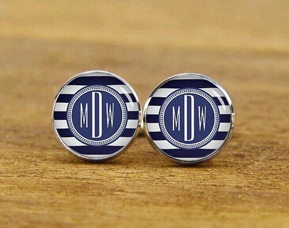 personalized monogram cufflinks, Navy Blue White Monogrammed, custom initial cufflinks, custom wedding cufflinks, tie clip or a matching set
