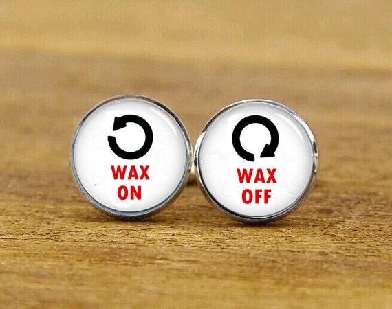 Wax On Wax Off Cufflinks, Wax-On, Wax-Off, Custom Any Text Or Photo, Personalized Cufflinks, Cool Men, Round, Square Cufflinks, Tie Clips