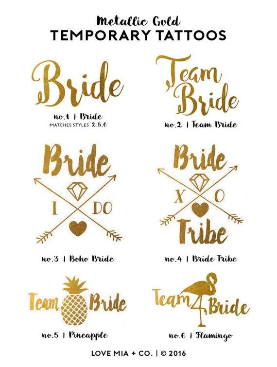 Bachelorette Tattoos | Metallic Gold Temporary Tattoo, Team Bride Tribe, Beach Bachelorette Party Tattoo Favor, Pool Party Bachelorette