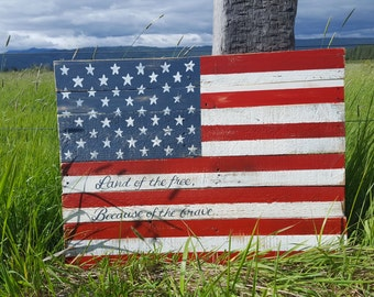 Rustic wood american flag wood flag military flag home - Flag decorations for home ...