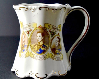 1937 The Year of the Three Kings Mug Vintage Cup Coronation King George VI also featuring George V Edward VIII Royalty Royal Souvenir