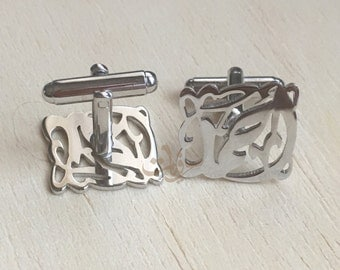 Men's Jewelry. Personalized 925 Sterling Silver handmade cufflinks, Arabic calligraphy square cufflinks. Gift for him