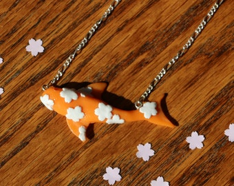Japanese koi carp necklace wih sakura