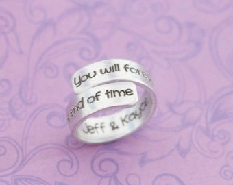 SALE - Secret Message Ring - Engraved Ring - Engraved Jewelry - Wrap Ring - Secret Message - Anniversary - Promise Ring - Long Distance Ring