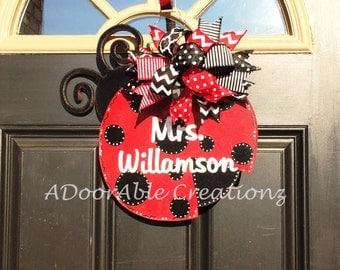 Ladybug Door Hanger, Teacher Door Hanger, Spring Door Hanger, Teacher Gift, Nursery Decor