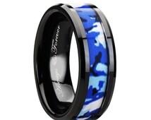 Black Ceramic Ring, Blue & White Camouflage Inlay, Mens Ceramic Wedding Band, Ceramic Engagement Ring, Ceramic  Jewelry, Mens Ceramic Rings